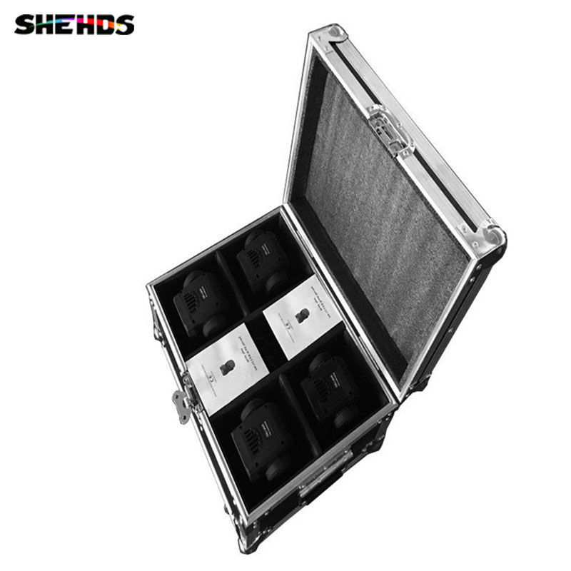 Flight Case with 4 pieces LED Moving Head Mini wash 4x18W RGBWA+UV with advanced 16/18 Channels Free Shpping,SHEHDS flight volume 4