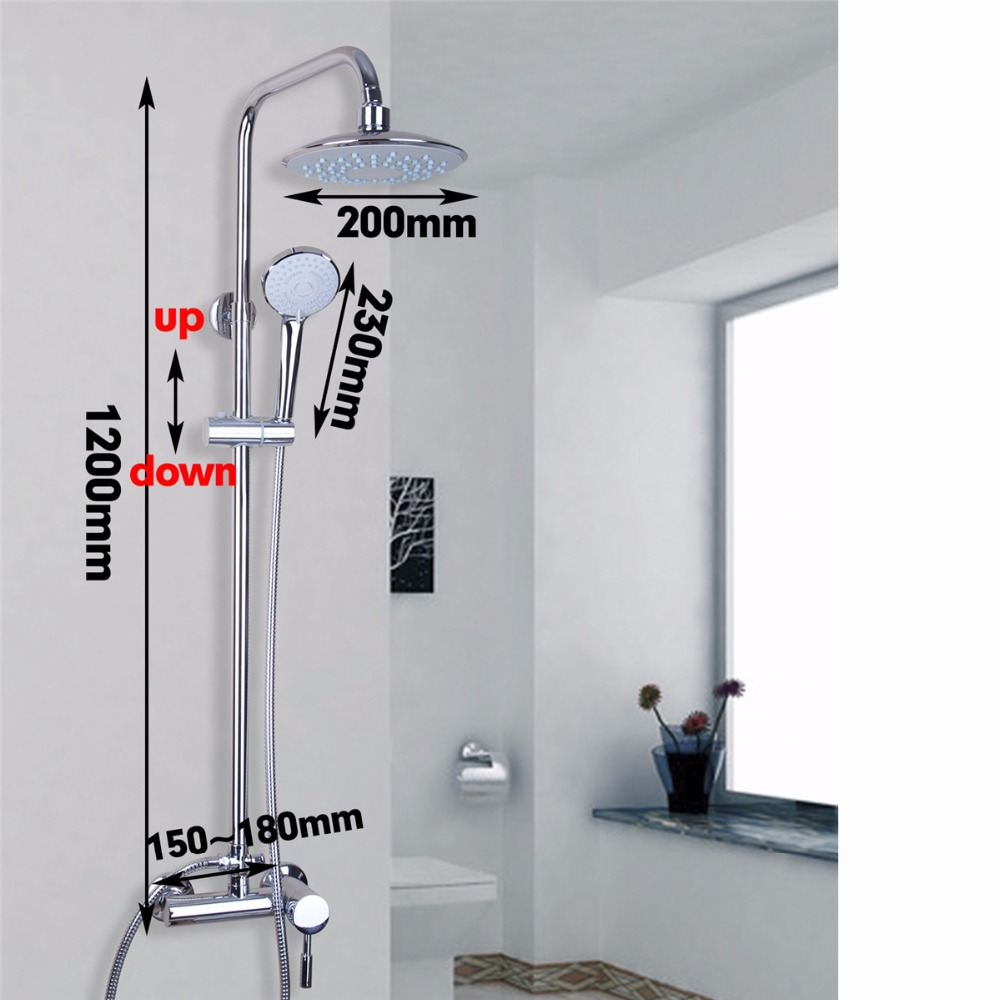 Fashion Bathroom Wall Mounted Rain Shower Faucet Set Bathtub Single Handle Mixer Tap new chrome finish wall mounted bathroom shower faucet dual handle bathtub mixer tap with ceramic handheld shower head wtf931