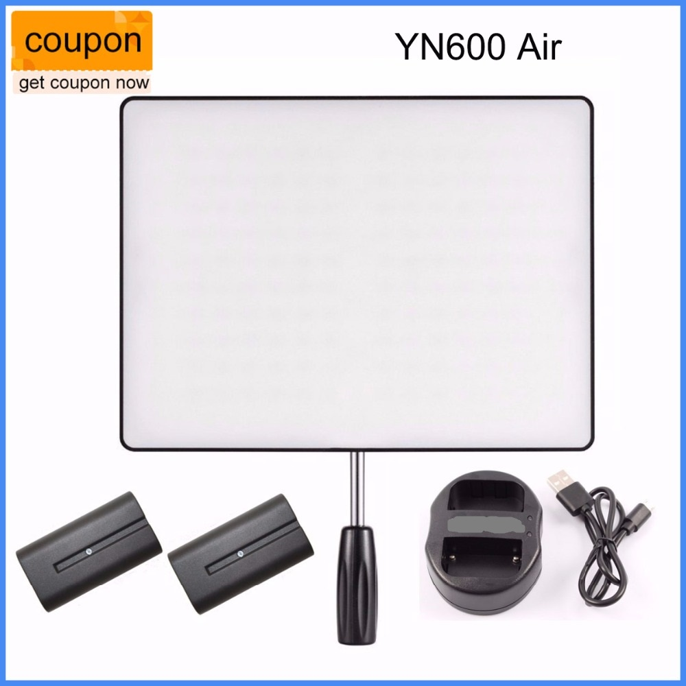 YONGNUO YN600 Air LED Camera Video Light For DSLR + 2* NP-F550 Battery + Dual Charger