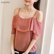 2018 Summer Women Chiffon Blouse Shirt Off the Shoulder Ruffle Blouses Ladies Tops Short Sleeve Fashion Striped Blusa Feminina off the shoulder ruffle trim blouse