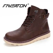 Brand Super Warm Men's Winter Leather Men Waterproof Rubber Snow Boots Leisure Martin Boots England Retro Shoes For Mens