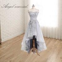 Ангел замуж Элегантные платья подружки невесты вырез сердечком классическое праздничное платье Высокий Низкий Кружева Свадебная вечеринк