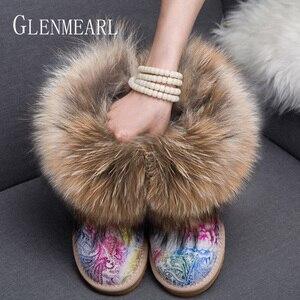 Image 2 - Women Boots Genuine Leather Real Fox Fur Brand Winter Shoes Warm Black Round Toe Ankle Plus Size Female Snow Boots DE