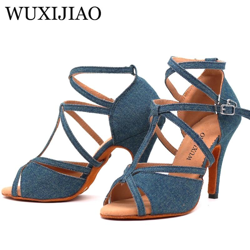 WUXIJIAO Denim Fabric Women Professional Latin Dance Shoes Salsa Ballroom Samba Dance Shoes Ladies High Heels Soft  Heel 5-10cm