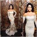 Marfim sereia fora do ombro Lace Sheer saia Prom vestido com Applique frisado