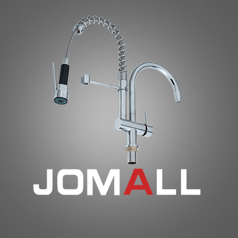 Good Quality Chrome Finished Pull Out Kitchen Faucet New Double Swivel Spout Vessel Sink Mixer Tap good quality wholesale and retail chrome finished pull out spring thermostatic kitchen faucet swivel spout vessel sink mixer tap