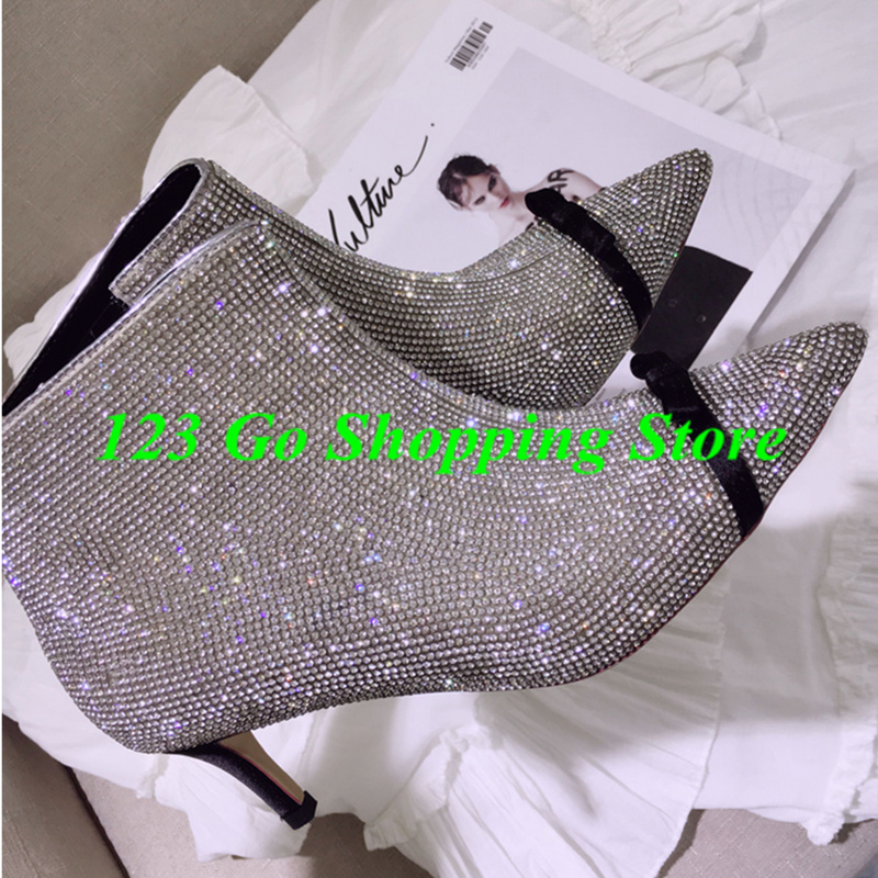 Pointed Toe Glitter Crystal Embellished Women Ankle Boots High Heel Side  Zipper Short Booties Bow Tie Funky Trendy Brand Shoes-in Ankle Boots from Shoes  on ... 3e078b5995fe