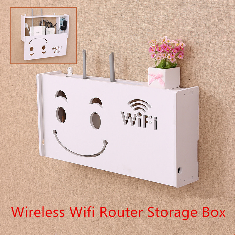 Eco-Friendly Wood Plastic Board Wireless Wifi Router Storage box Wall Hangings Bracket Cable Storage Rack Home Decor
