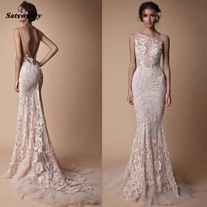 Berta Lace Applique Mermaid Bridesmaid Dresses Wear 2020 Sheer Neck Backless Full Length Custom Make Fishtail Prom Pageant Gowns