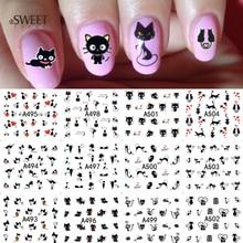 12 Designs en 1 motif de chat mignon filigrane conçoit des autocollants dart dongle décalcomanies de transfert deau ongles de beauté pour la décoration LA493 504
