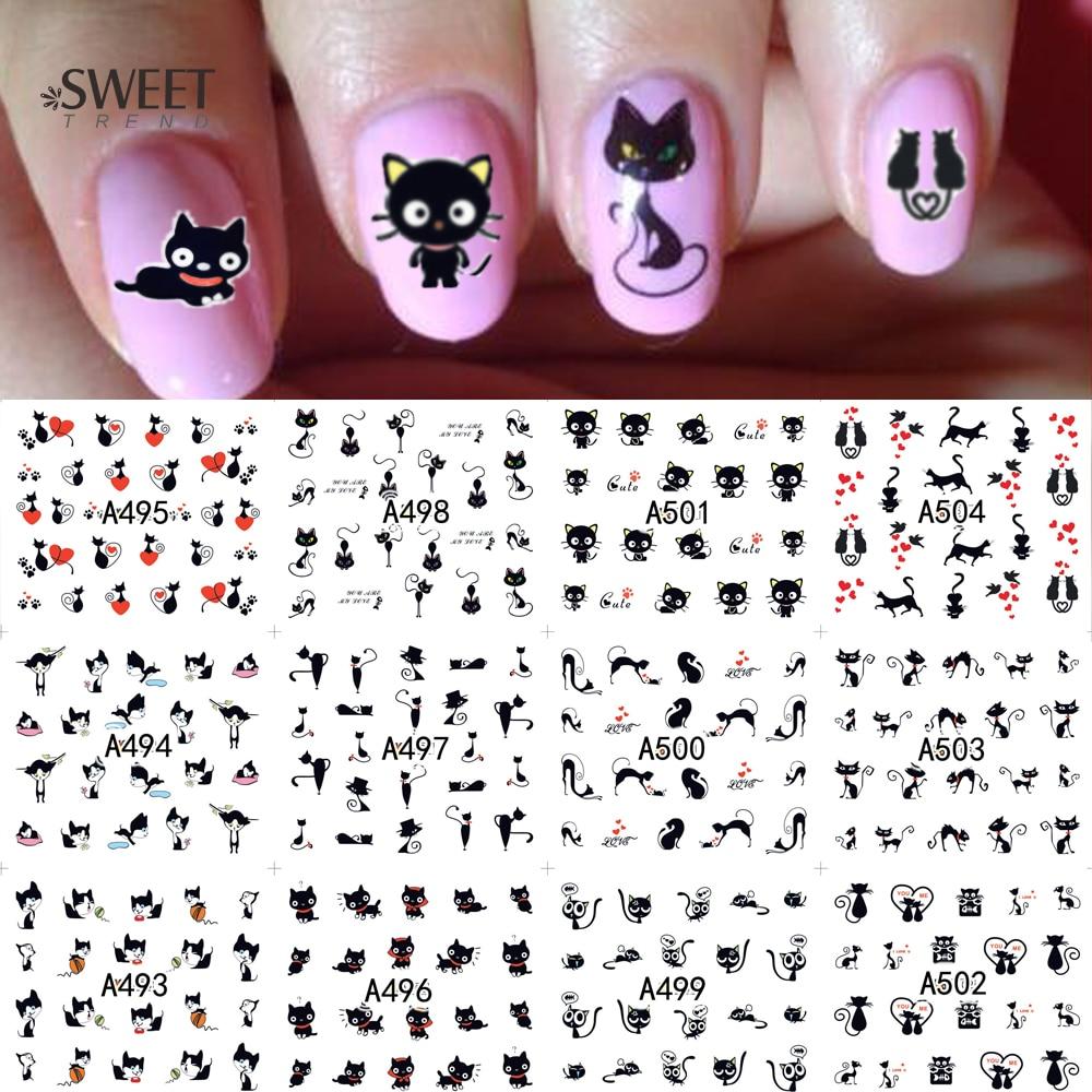 12 видов конструкций в 1 милые наклейки для ногтей с рисунком кота, наклейки для ногтей, переводные наклейки для воды, красивые ногти для укра...
