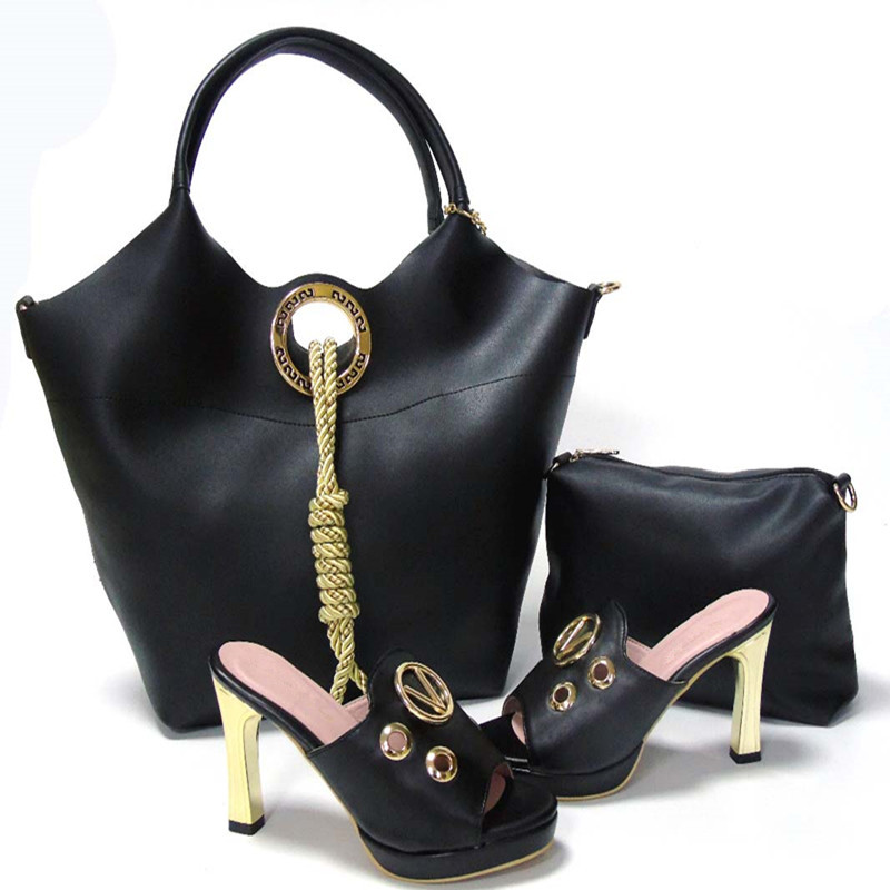 ФОТО Black 2017 New Coming African Sandals Italian Shoes and Bag To Match Shoes with Bag Set Italian Shoes and Bags Sets For HS160009