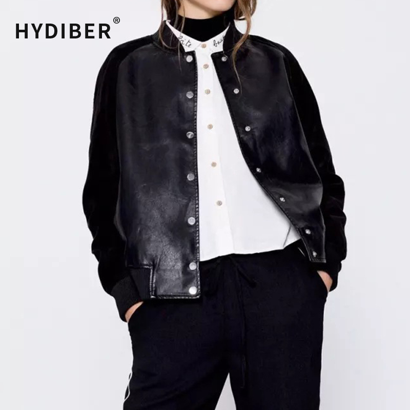 Black Patchwork <font><b>Women</b></font> <font><b>Leather</b></font> <font><b>Jacket</b></font> 2017 Spring <font><b>New</b></font> <font><b>Fashion</b></font> <font><b>PU</b></font> <font><b>Long</b></font> Sleeve <font><b>Bomber</b></font> <font><b>Jacket</b></font> Coat
