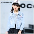 Jocelyn Katrina Children's Girls Coats Cowboy Floral Jackets Denim Top Button Costume Outfits Jean Coat Children Outerwear 7-16T