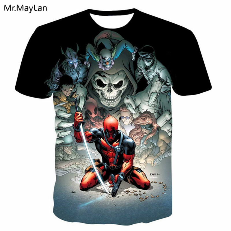 3D Print Marvel Movie Deadpool Skull T shirt Men/Women Casual Tshirt T-shirt 2019 Cool Boy Hiphop Clothing <font><b>Camiseta</b></font> <font><b>hombre</b></font> <font><b>6XL</b></font> image