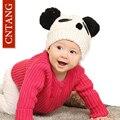 Nuevo 2016 Invierno Del Bebé Muchachos Lindos Cachorros Panda Sombrero Hecho Punto Caliente Tapas de las muchachas de Lana Pompón Gorros Sombreros Otoño Ganchillo Gorro Para Niño