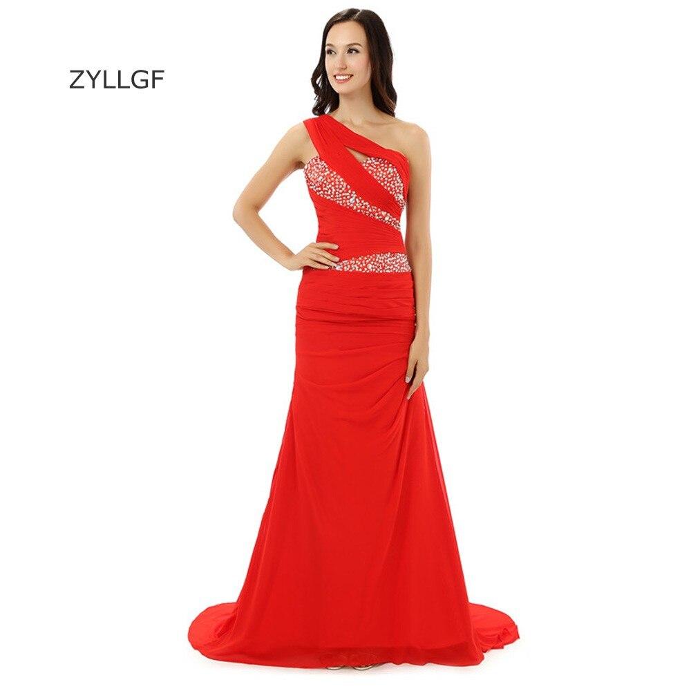 ZYLLGF длинное красное вечернее платье Русалка одно плечо шифоновое скромное вечернее платья корсет с бисером Q188