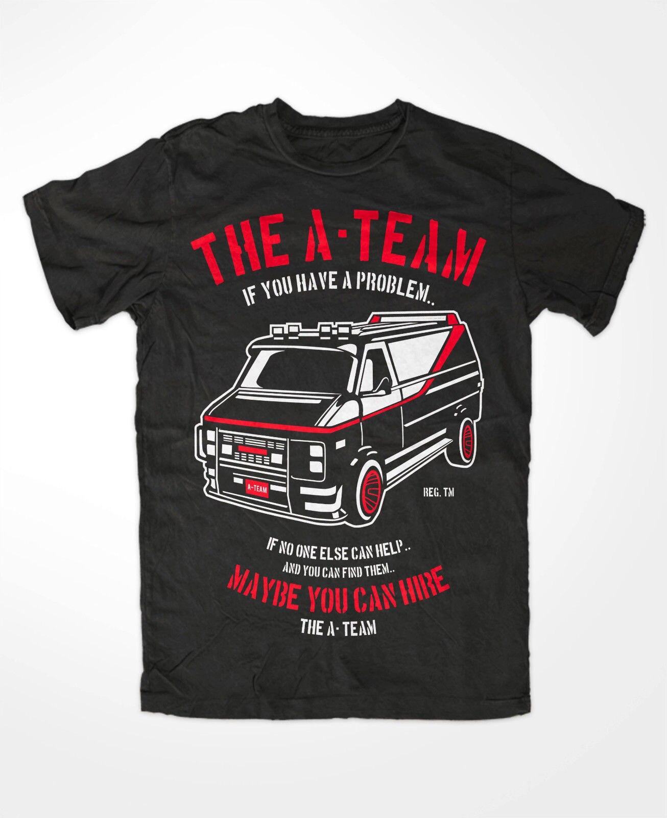 T-Shirtr Novelty Cartoon T Shirt The A-TEAM Auto Car T-Shirt FUN TV Serie Film Mr.T. Hannibal Murdock Face B.A. Movie Shirt