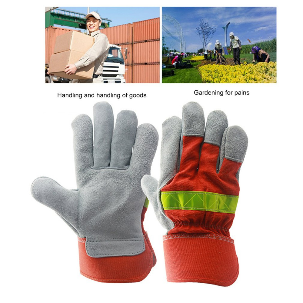 Leather Work Glove Safety Fire Protective Gloves Fire Proof Anti-fire Equipment Heat Resistant With Reflective Strap for Working