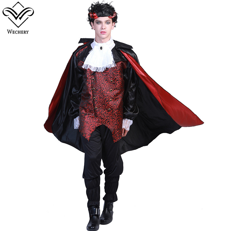 Wechery Medieval Vampire Costume Black Printed Tops Pants Cloak Set for Cosplay Mens Ancient Fairy Tale Clothes
