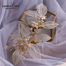 Exaggerated Leaf Handmade Vintage European Brides Barrette Tiaras Crystals PEarl Wedding Hairbands Prom Headdress