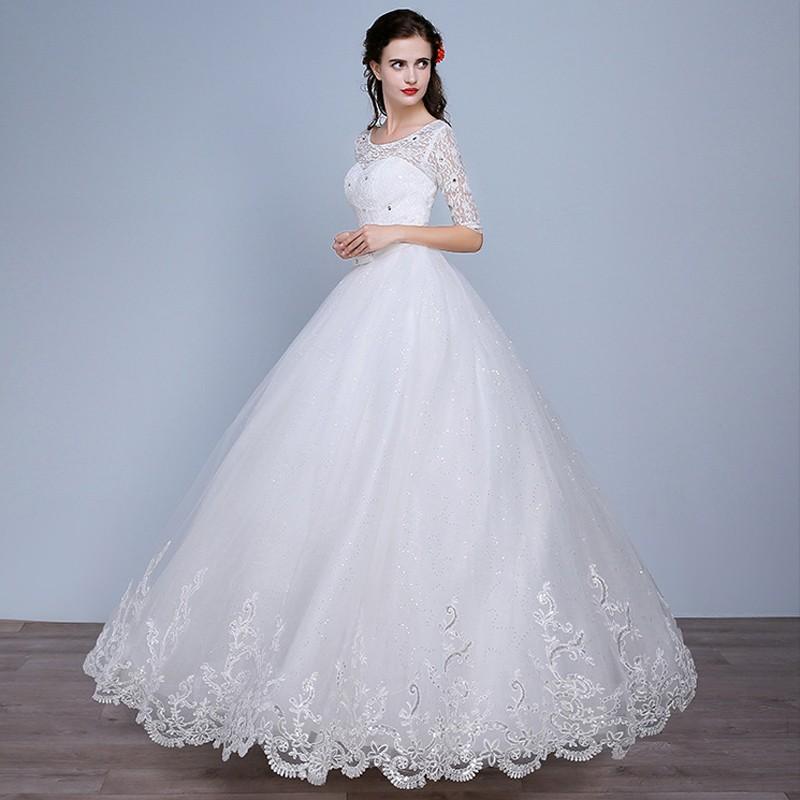 Fashion Plus Size Wedding Dress 2016 Women Lace Sweetheart Half Sleeve Vestidos De Noiva WD2672 (10)