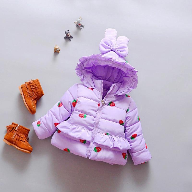 Bibicola новорожденных девочек одежда хлопка мягкой дети зимняя куртка клубника пиджаки куртка детская clothing девушки зимние пальто