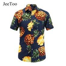e8cceeb81 JeeToo camisa hawaiana imprimir manga corta hombres Camisas Slim Fit de  piña imprimir moda algodón Overhem