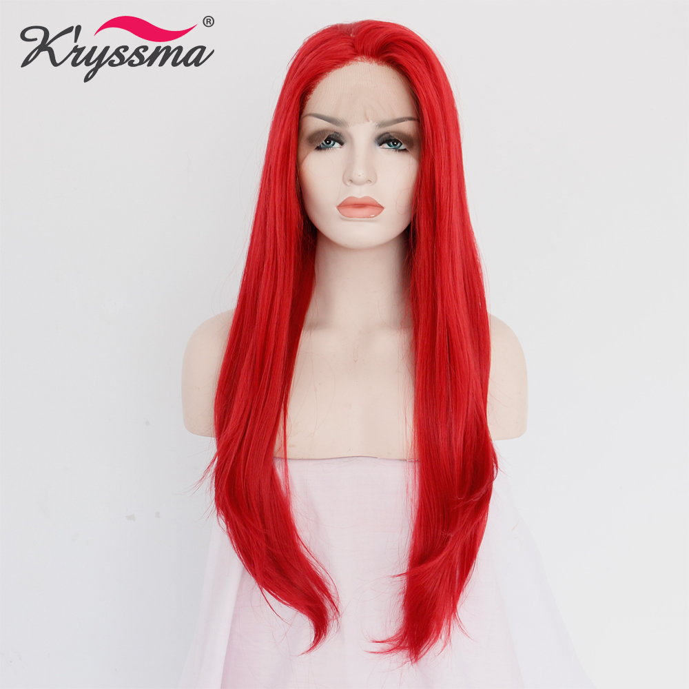 Long Red Wig Natural Straight Synthetic Lace Front Wig ...