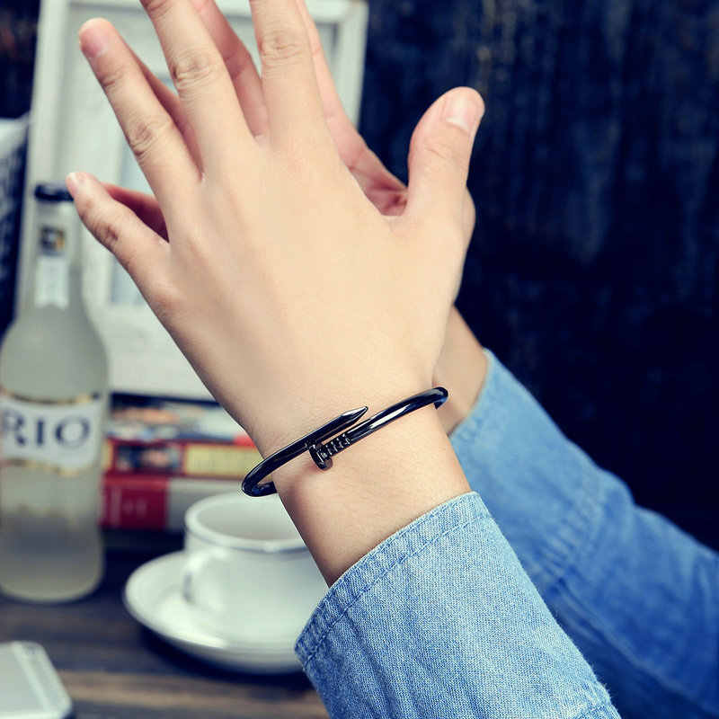 Nail Creative Design Women Men Stainless Steel Silver Gold Bracelet Bangle Finger Ring Punk Couple Love Luxury Bracelet Pulseras