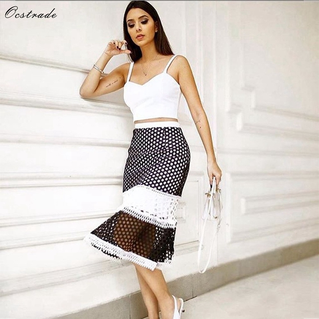 Ocstrade Summer Fashion 2018 Sexy White Women 2 Piece Bodycon Crop Top and  Black Crochet Skirt Party Bandage Two Piece Set 766a43d62c36