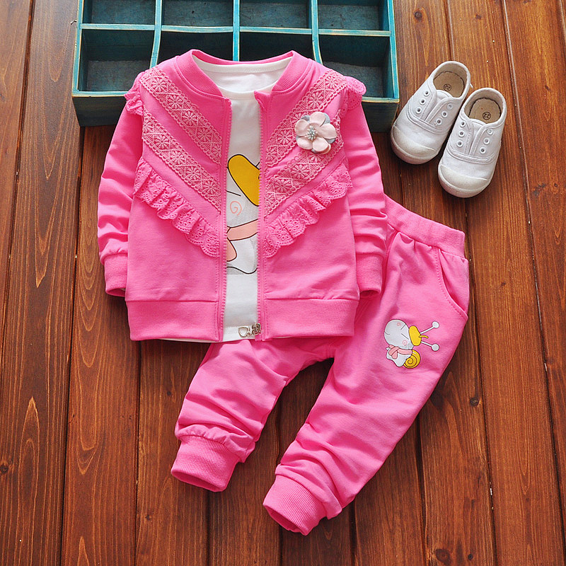 Newborn Baby Girls Clothes Autumn Spring Long Sleeved Lace stitching Outwear+Cartoon T-shirt+Long Pants 3PCS Bebes Jogging Suits