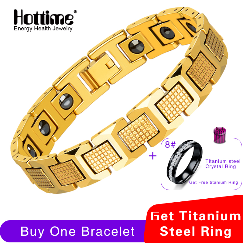 Hottime Men's Fashion Healthy Magnetic Therapy Bracelet Bio Elements Energy Germanium Bracelets Bangles Black Tungsten Jewelry amezcua energy bio disc 2 bio energy disc healthy water maker increasing nutrition cell detoxification bio quantum liquid glass