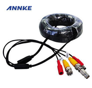 ANNKE Home Security System 18m CCTV Cable BNC + DC Plug Cable For CCTV Camera And DVRs Black Color Coaxial Cable 4pcs 12v 1a cctv system power dc switch power supply adapter for cctv system
