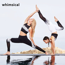 Whimsical new High-Waist Yoga Sexy Black&White Mesh Panel Leggings Adagio Goddess Legging Running Pants Fitness Active wear