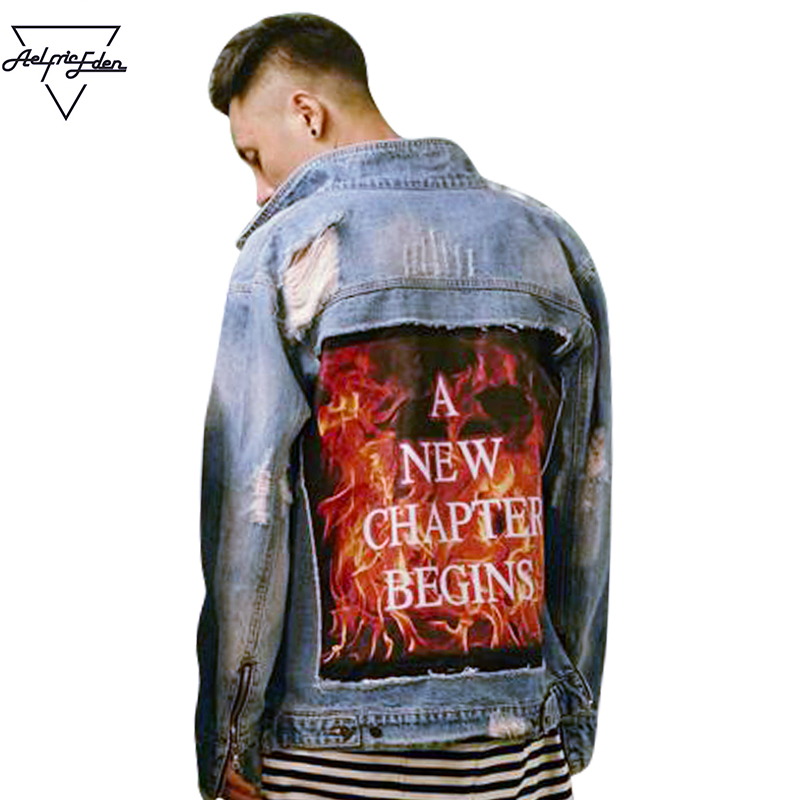 Aelfric Eden Mens Baseball Jacket Ripped Hole Denim Jacket with Fur Men 3D Flame Letter Hip Hop Jackets Jeans Windbreaker F390 high quality mens jeans ripped colorful printed demin pants slim fit straight casual classic hip hop trousers ripped streetwear