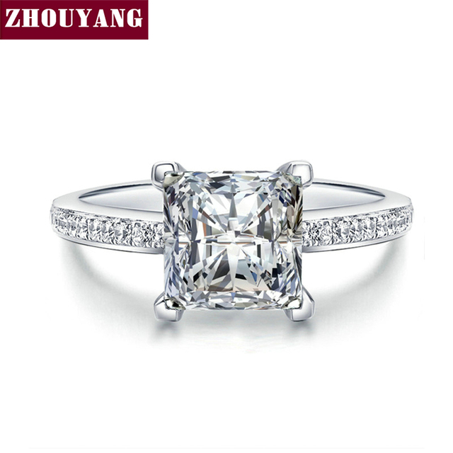 Silver Color Cubic Zirconia Bijoux Fashion Wedding & Engagement Ring Jewelry For