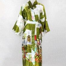 Женские Длинные атласные кимоно халат Для женщин Повседневное ночная рубашка Для ванной платье Новинка принт ночь платье плюс Размеры S-XXXL lk12