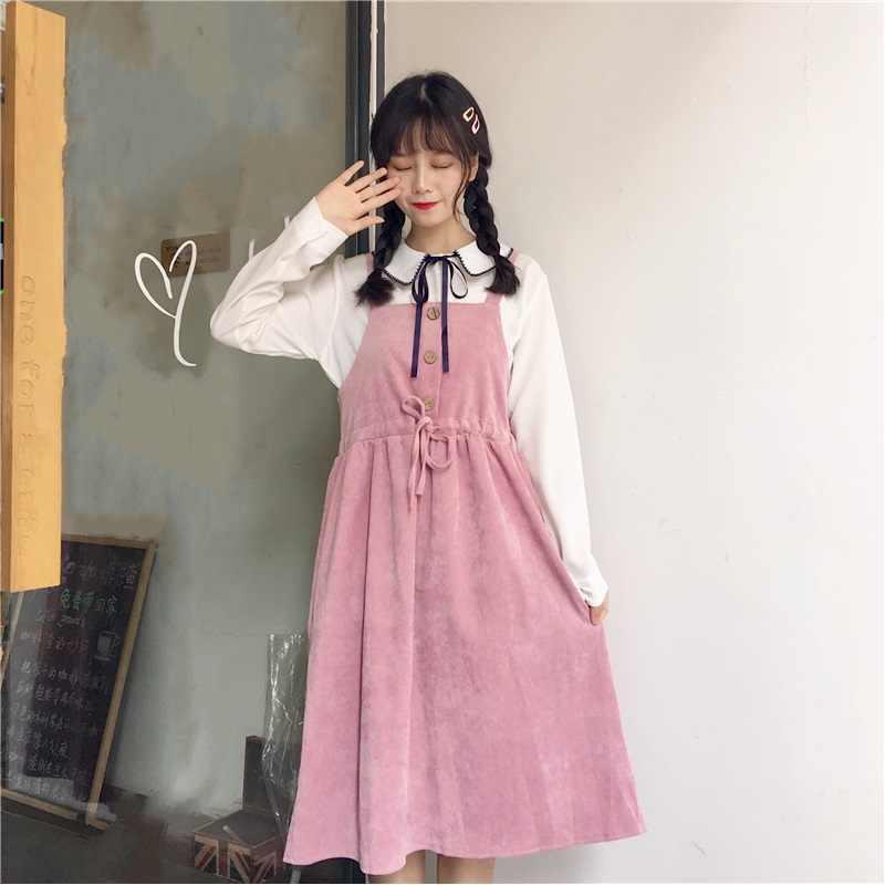 4acc9b8b2cd4 Japanese Preppy Style Women Cute Sundress Suspenders Pink Khaki Lace Up  Sleeveless Dress Elegant Kawaii Corduroy