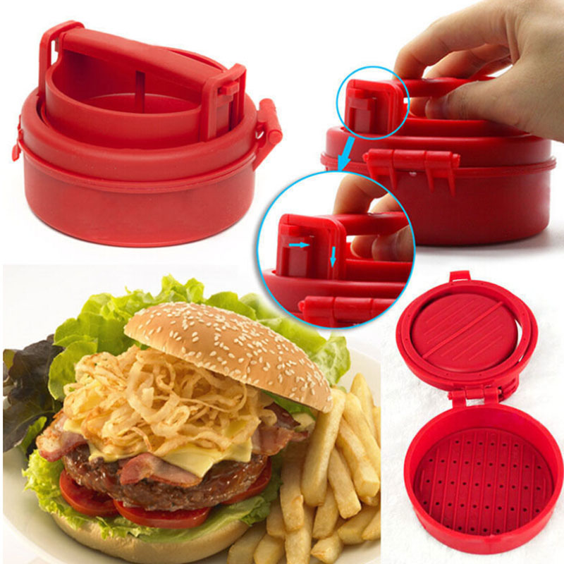 Stuffed Burger Press Maker Red Hamburger Grill BBQ Patty Meat Mold Grill Ground Beef Presses Kitchen Gadget