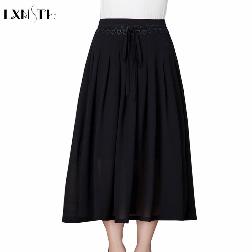 LXMSTH Summer Chiffon Long Skirt High Waisted Lace Up Elastic Waist Plus Size Midi Skirt Mother Elegant Skirt Black 2XL 3XL 4XL elegant women s high waist button embellishment midi skirt