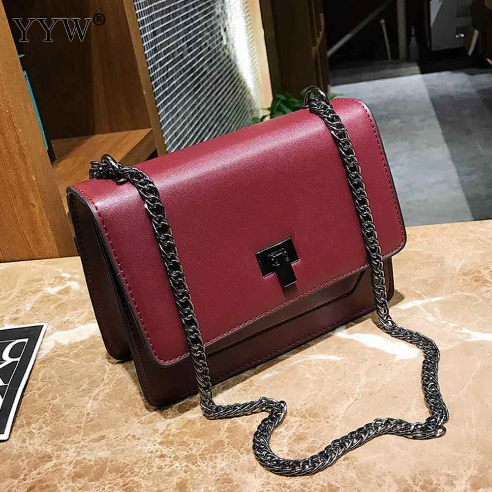 2a7c883972a2 ... YYW дешевая цена винтажная женская кожаная сумка через плечо черная  цепочка на плечо сумка из искусственной ...