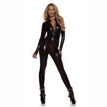 Женский комбинезон с длинным рукавом черного цвета, на молнии спереди, с имитацией шеи, Zentai, металлический блестящий костюм на Хэллоуин, нарядное платье, костюмы, сексуальный костюм