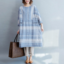 oversized Cotton Linen Dress Autumn Women Vintage Loose Round Neck Batwing Sleeve Back Single Breasted Maxi Long Robe Dress