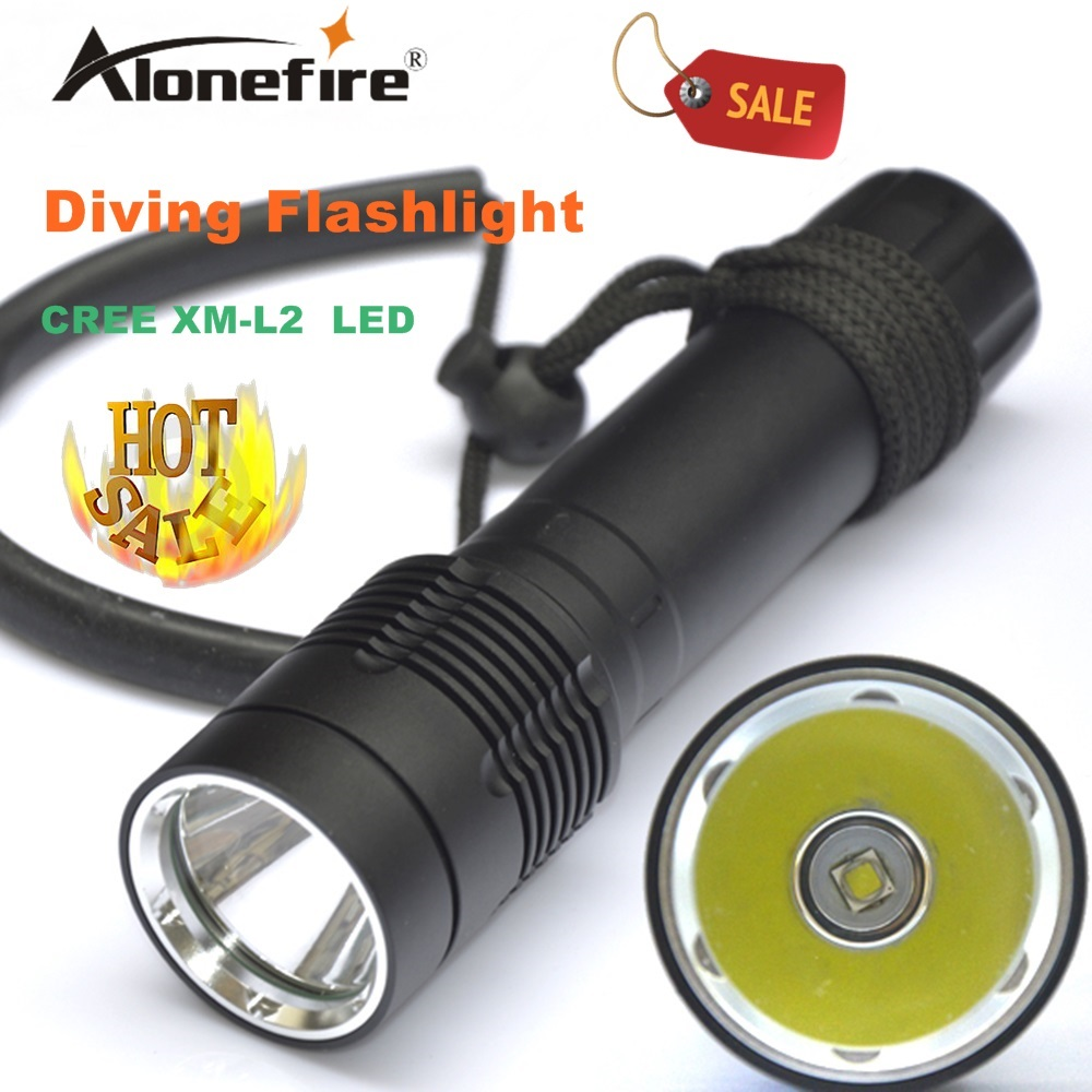 Alonefire DV21 Underwater Diving diver Flashlight Torch XM L2 LED Light Lamp Waterproof 18650 rechargeable battery white light
