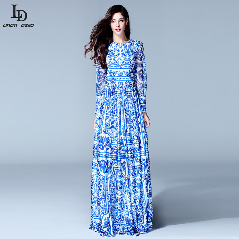 product HIGH QUALITY New 2015 Fashion Women's Long Sleeve Vintage Blue And White Print Dress Brand Maxi Dress