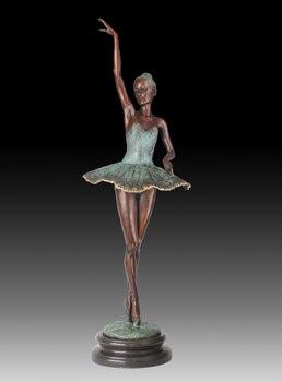 Modern Western Ballerina Dancer  Figurine  Flirting Swans Bronze Sculpture Ballet Girl Meg Craft Gift  Dream Girl JD-051