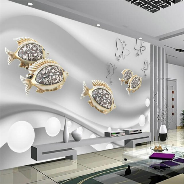 beibehang Wallpaper custom living room bedroom fashion goldfish ...