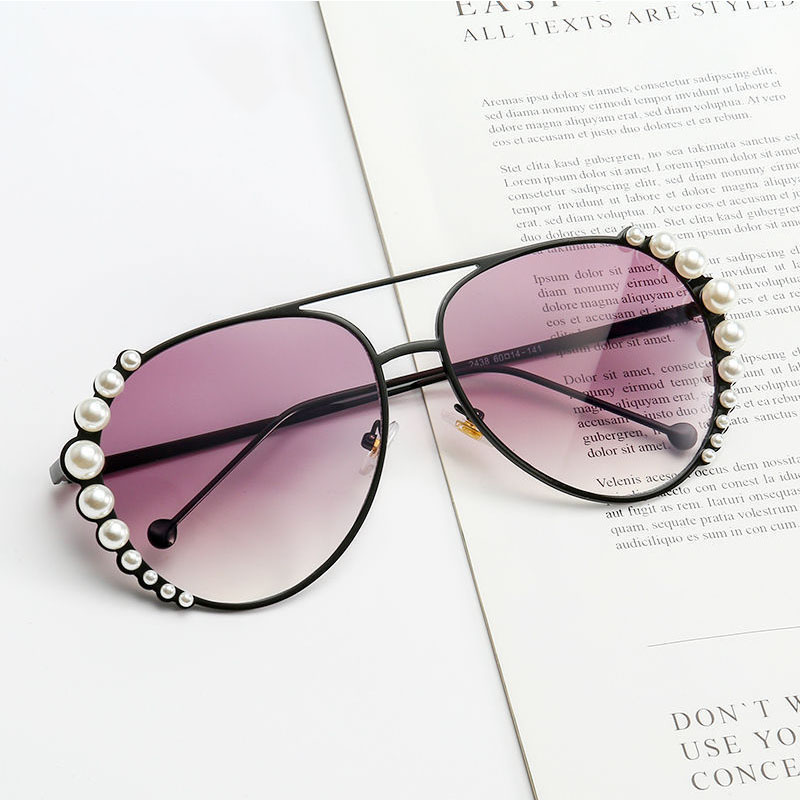 Personality Pearl Sunglasses Women Fashion Driving Sunglasses Ocean Sheet Glasses