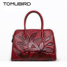 TOMUBIRD 2017 new superior cowhide leather Designer embossed famous brand women bag fashion Tote women genuine leather bag